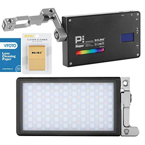 BOLING BL-P1 RGB Led Video Light 2500K-8500K Pocket Size Camare Photo Lighting Built in Battery 360° Adjustable Support System+VFOTO Lens Cleaning Paper