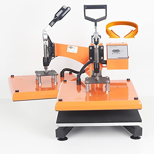 RICOO Transferpresse T538B-GS [38x38cm] T-Shirtpresse Heat Press Thermopresse Textilpresse für Transfer-Folie Transfer-Papier    Gelb/Orange    - 4