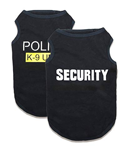 Medium Dog Shirts Security Pattern XL Dogs Cotton Clothes Police T Shirt Boy, Pack of 2, XL