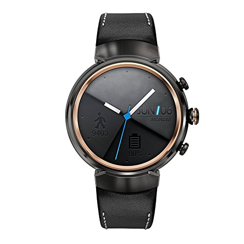Kartice para ASUS ZenWatch (3 Bandas, Vintage Piel Auténtica Smart Reloj Banda Correa Reemplazo Watchband con Seguro Cierre Hebilla de Metal para ASUS ZenWatch 3 WI503Q (black-14 mm)