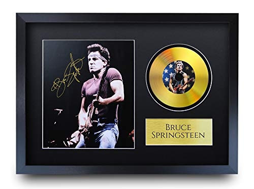 HWC Trading A3 P Bruce Springsteen The Boss Regalo Autógrafos Impresión De Fotos con Una Foto En Disco De Oro A La Fan De La Música Objetos Firmados - Enmarcada A3