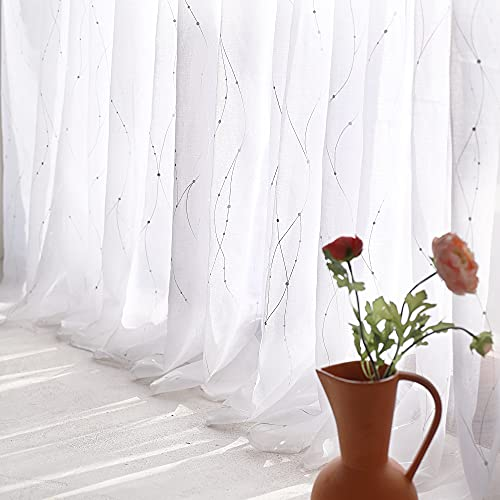 Deconovo Sheer White Curtains 63 Inch Length 2 Panels, Grommet Top Voile Curtains Semi Sheer, Light Filtering Curtains for Bedroom, Foil Printed Curtain(52W x 63L Inch, White/Silver, 2 Panels)