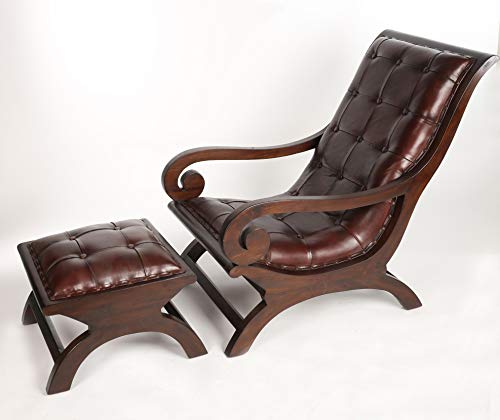 Antyki24 Chesterfield Kunstleder Füsse Sessel Oder Ottomane Loungesessel Edinburgh 92 x 76 x 60 cm