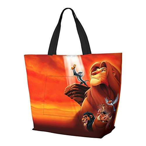 Simba Lion King - Bolso de mano con asa de hombro y asa de hombro para ir al gimnasio, playa, viajes, unisex, plegable