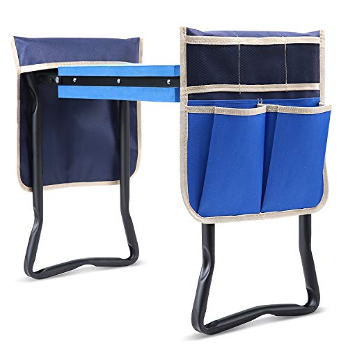 Garden Kneeler and Seat Heavy Duty, Ohuhu Upgraded Garden Beach with Thicker & Wider Soft Kneeling Pad, Foldable Stool with 2 Large Pouches, Ideal Gardening Gifts for Gardener Parents Seniors Friends
