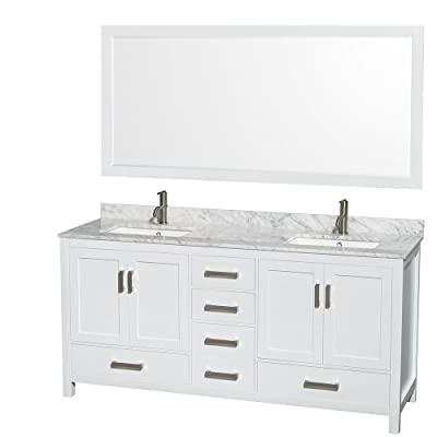 Wyndham Collection Sheffield 72 inch Double Bathroom Vanity in White, White Carrara Marble Countertop, Undermount Square Sinks, and 70 inch Mirror
