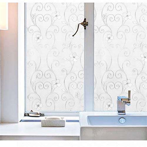 YSHUO Venster Stickers Statische Cling Home Decor Folie Geen Lijm Privacy Venster Films 3D Zilver Ijzer Bloem Frosted Glas