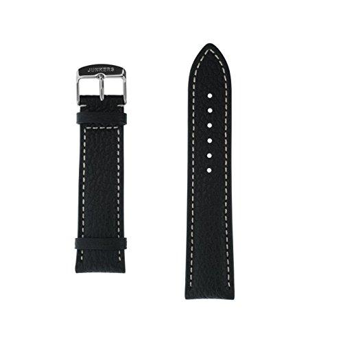 Junkers Lederarmband Büffelleder schwarz 22 mm silberfarbene Dornschließe beige Naht strukturiert mit Prägung an der Schließe