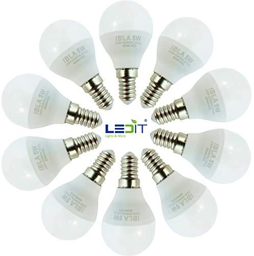 10 x Lampadina Led E14 5W Luce Calda Durata 25000 ore 500 Lumen, Basso Consumo per Risparmio Energetico, Attacco Piccolo Forma Piccola Rotonda A45 per lampadari, plafoniere, comodini, lampade