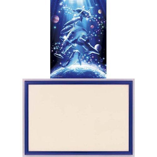 500ピース 光るジグソーパズル めざせ! パズルの達人 ラッセン マジカル プレイグラウンド (38x53cm)+木製パズルフレーム ウッディーパネルエクセレント シャインブルー (38x53cm)
