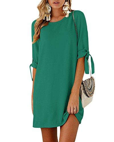 YOINS YOINS Damen Kleider Rundhals Blusenkleid Damen Sommerkleid für Damen Langarm Minikleid Lose Tunika mit Bowknot Ärmeln