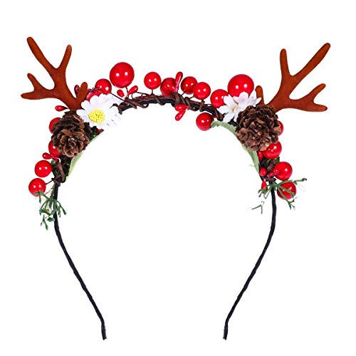 Lurrose Christmas Headband,Antlers Headband with Flowers Redberry Pine Cone Xmas Party Headpiece for Girls Woman Kids