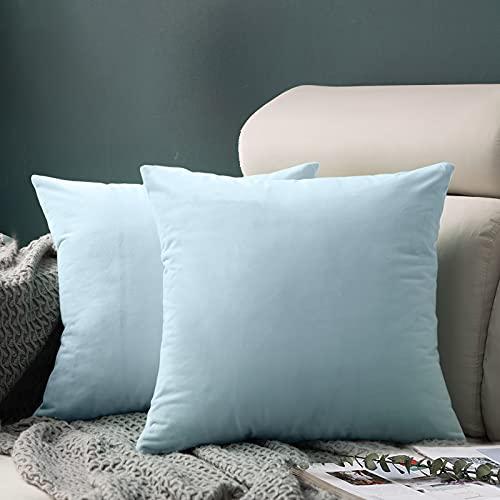 FORTRY Juego de 2 fundas de cojín de terciopelo suave y sólido, 40 x 40 cm, decorativas cuadradas, para sofá, dormitorio, sofá, color azul cielo