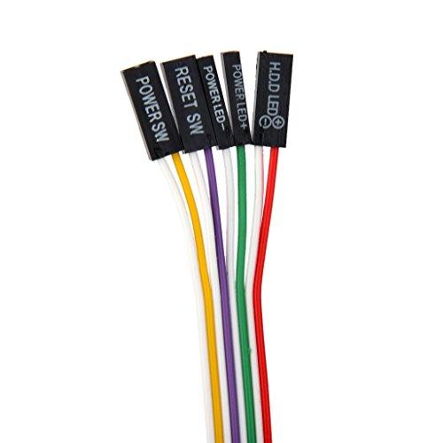 Sharplace Cable De Alimentación De La Placa Base del Ordenador Pc ATX Interruptor 2 De Encendido/Apagado/Reinicio con La Luz Llevada