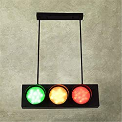 NIUYAO Traffic Light Pendant Light Retro Industrial Hanging Lamp with Remote Control 6 Lights Energy-Saving LED Ceiling Lamp in Black Finish Bulb Included