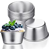 10 Pieces Individual Molds Pudding Molds Cups Mini Chocolate Molten Pans Carbon Steel Cupcake Cake Cookie Pudding Mold Round Nonstick Egg Tart Mould Popover Bakeware Tumblers (2.6 x 2 x 1.3 Inch)