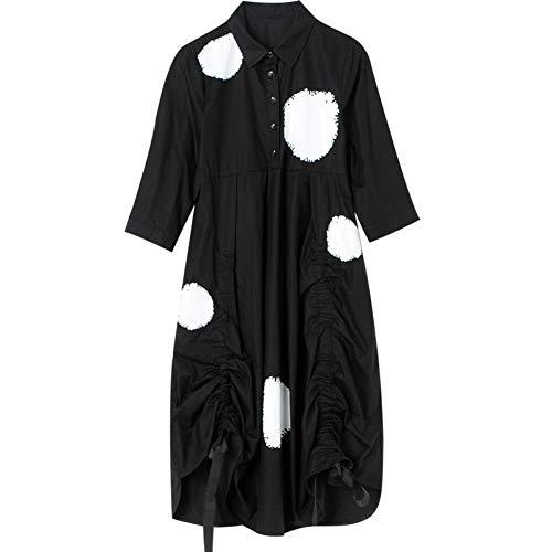 BINGQZ Cocktail Jurken Zwart shirt rok vrouwelijke zevenpunts mouwen lange print geplooide mouwen shirt jurk lente en zomer