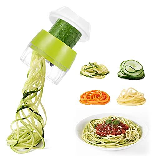 KHDJ Cortador de Verdura 3 en 1, Espiralizador de Verduras para Espaguetis de Calabacín, Zanahorias, Cortador de Patatas Mandolina de Cocina con Exprimidor Limon Manual, Exprimidor Naranjas