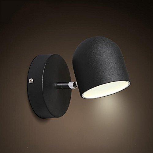 LED 5W Dormitorio nórdico Cabecero de la pared de la luz Personalidad creativa puede girar la sala de estar Pasillo Escaleras Hall de entrada Iluminación decorativa Lámpara de pared ( Color : Black )