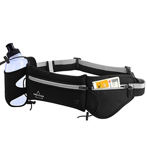 MOSSLIAN Cinturón Running Riñonera Running Belt Deportivo para Correr Fitness Viaje Deportes y Aire Libre para Móvil iPhone Elástico para Mujer y Hombre Negro