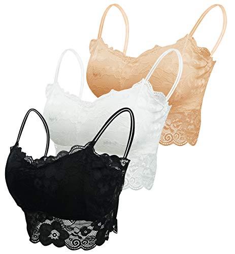 FEOYA Damen BHS 3er Pack Ohne Buegel Push up Yoga Spitze BH Bra Top Set Sport-BHS für Women-Weiß+Schwarz+Hautfarbe-XL