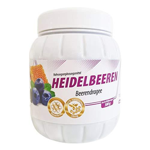 Augen Vitamine B & Spurelemente Heidelbeer-Extrakt 300g Tentorium, Dragee Kapseln Blaubeeren mit Anthocyanen, Honig & Beta Carotin des Bienenbrots | 100% natürliches Vitamin B1 B2 B6 C R & Zink