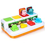 Powcan Pop-Up Spielzeug mit Tieren Aktivitätsspielzeug für Kleinkinder Baby Interaktives Lernspielzeug Push Spielzeug mit Tasten für 12+ Monaten Kinder Babys