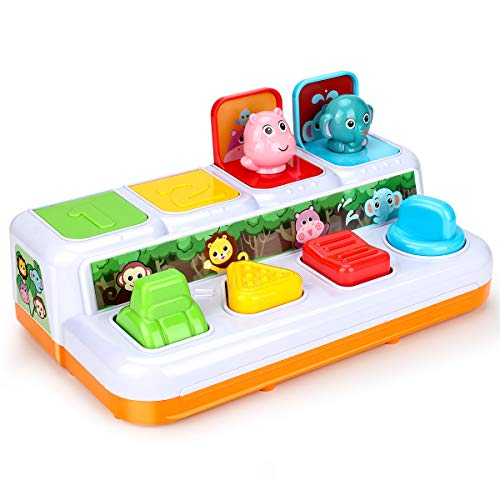 Powcan Pop-up Giocattolo per i più Piccoli, Pop-up Giocattoli di attività - interattivi Pop-up Animali Giocattolo, Giocattoli educativi interattivi per per 12+ Mesi Baby Bambini Piccoli