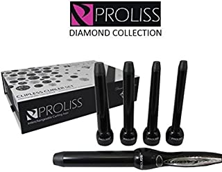 Proliss Diamond Collection 5P Curling Iron Wand 5-Piece Clipless Curler GIFT SET by Proliss