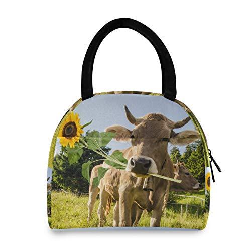 XXNO - Bolsa de almuerzo con diseño de girasoles de vaca, aislada, a prueba de fugas, bolsa de almuerzo organizador para mujeres y hombres, trabajo, picnic, playa