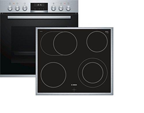 Bosch HND611LS60 Herd-Kochfeld-Kombination (Einbau) / A / 59,4 cm / Edelstahl / Klapptür / LCD-Display / GranitEmail / Elektrokochfeld (herdgesteuert) / 4 HighSpeed-Kochzonen / Umlaufender Rahmen