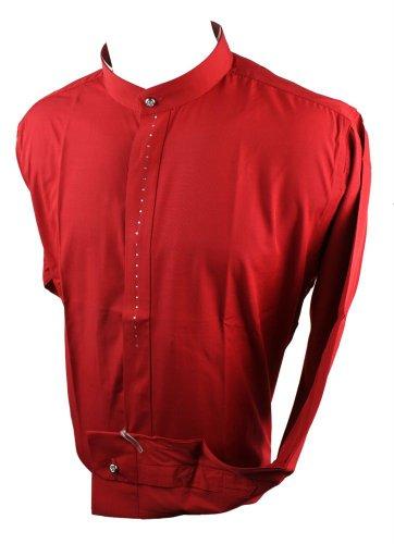 Chemise Homme col Mao Grand père Style Chic et décontracté Blanc Noir Rouge Bleu avec Brillants