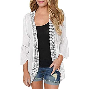 Women Cardigan Chiffon Lace Long Sleeve Kimono Loose Solid Cover up Clothing Thin Smock Summer Sun Protection Top (S, White)