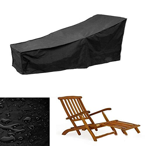 ZWYGXL Beach Recliner Cover Garden Table Cover Outdoor Furniture Cover Waterproof Rattan Cover Black 2 Sizes dust-Proof (Color : Black, Size : 2107779CM)