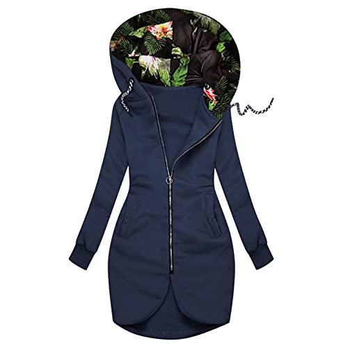 Reokoou Women s Hooded Sweatshirts Full Zip Pocket Hoodie Jacket Lightweight Casual Loose Winter Coat for Women