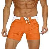 KEFITEVD bañador Hombres Pantalones Cortos de baño Ajustados Cortos con Bolsillos Pantalones de baño BBoardshorts Pantalones de Verano Casuales Naranja 40