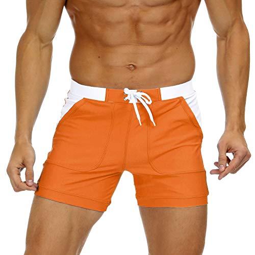 KEFITEVD Badehose Herren Kurz Eng Badeshorts Männer Boxer Stretch Shorts mit Taschen Schwimmhose Bodyfit Boardshorts Patch Lässig Sommerhose Orange 36