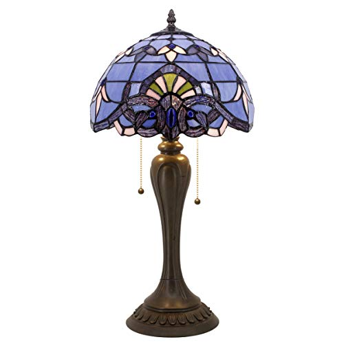 Blue Purple Baroque Tiffany Style Table Lamp Lighting W12H22 Inch Lavender Stained Glass Lampshade S003C WERFACTORY Lamps Lover Friends Kids Living Room Bedroom Bedside Desk Antique Art Crafts Gifts