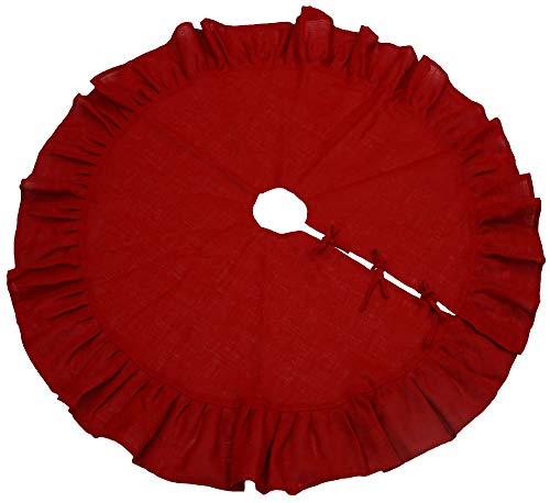 Primitive Home Decors 36' Festive Red Christmas Tree Skirt with Ruffled Edge and Cotton Backing