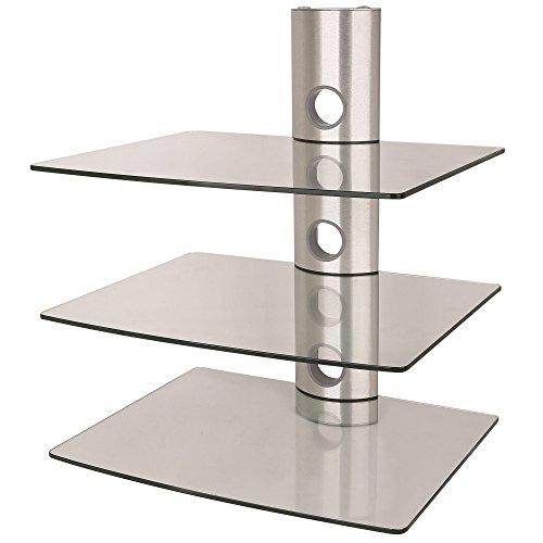 NEG Multimedia TV-Rack Suspender 503S (Silber) mit 3 Glas-Ablagen und Kabelmanagement-System