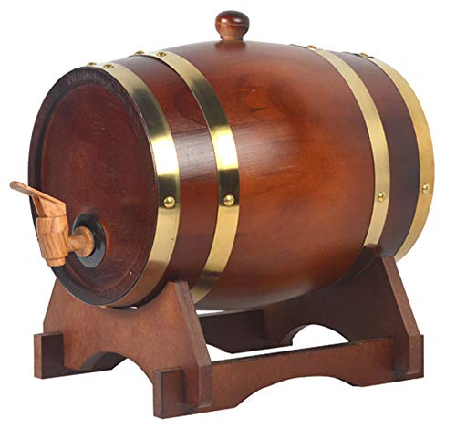 Barril de Madera, Barril Individual de Roble para Whisky O Vino, Barril con Grifo, Tapón y Soporte de Madera, Decoración Romántica para Uso Doméstico Mesa de Comedor,Red tea(copper),5L