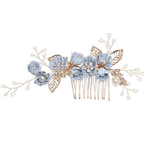 Peines para el pelo de la flor, accesorio para el pelo, para novia, boda, graduación, accesorios para el cabello, hojas doradas, joyería de pelo, alfileres de lujo