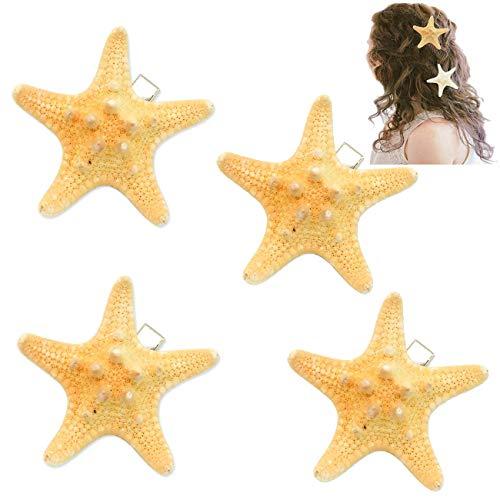 4 Pack Starfish Hair Clip, Handmade Natural Sea Star Wedding Beige Hair Pins Decorative Bridal Hairpins Jewelry Set for Women Teen Girls Kids,Random Size