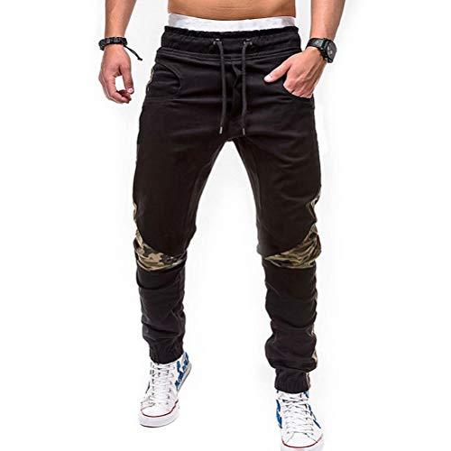 Pantalons décontractés de Jogging pour Hommes Camouflage Patchwork Taille élastique avec Cordon de Serrage Streetwear Pantalon de survêtement