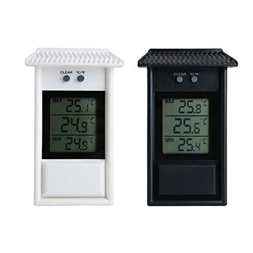 Sunjully Max Min Digitale thermometer, weerbestendig, klassiek design, nauwkeurige meting, geschikt voor binnen of buiten, voor in de tuin, broeikas wit