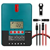 WEIZE MPPT Solar Charge Controller Kit, 100V 40 Amp 12/24-Volt Solar Regulator Kit with Extension Cable and Assembly Tool for Gel, Sealed, Flooded, Lithium and LiFePO4 Battery