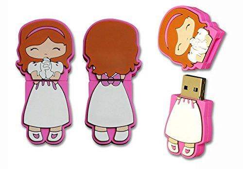 Lote 10 Memorias USB COMUNIÓN NIÑA 4GB Pendrive, USB Baratos para Comuniones - Detalles y Recuerdos de 1ª Comunión