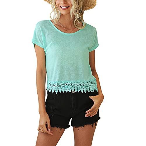 Jersey Informal De Primavera Y Verano para Mujer, Cuello Redondo, Color SóLido, Costura, Hueco, Suelto, Camiseta De Manga Corta, Camiseta para Mujer
