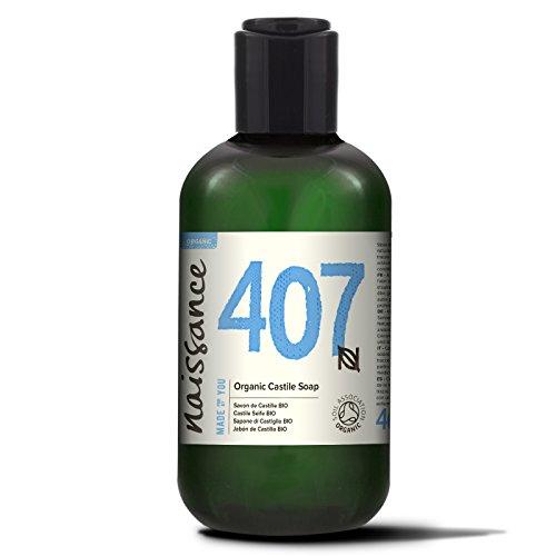 Naissance Castile Seife BIO (Nr. 407) 250ml | Natürliche BIO zertifizierte unparfümierte Flüssigseife | vegan, frei von SLS und SLES