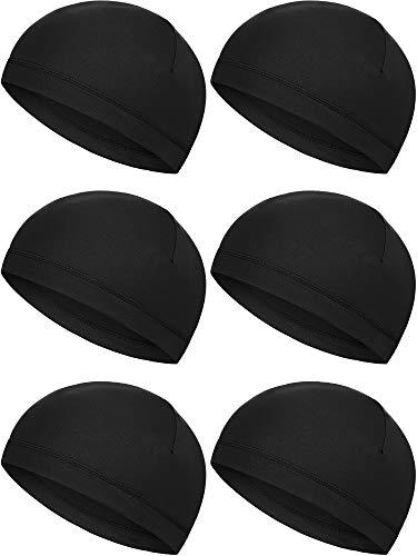 6 Pieces Helmet Liner Skull Caps Sweat Wicking Cap Running Hats Cycling Skull Caps for Men and Women (Black)